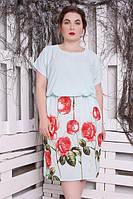 Батальное женское платье Виолетта роза мята ТМ Safika 52-58 размеры