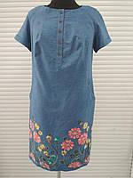 Платье летнее джинсовое с вышивкой большого размера