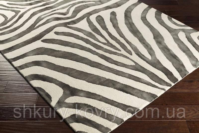Ковер из шерсти белого цвета и вискозы под зебру серого цвета
