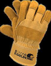 Перчатки усиленные с бычий кожи рабочие Reis Польша (перчатки кожаные рабочие) GOLDENY YY