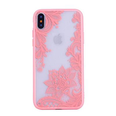 Чехол накладка xCase на iPhone 5/5s/se ажурный №2 розовый