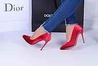 Женские туфли  лодочки   красные велюр каблук 10,5 см