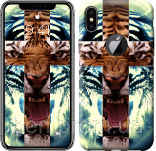 "Чехол на iPhone X Злой тигр ""866c-1050-12391"""