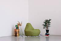 Оливковое кресло-мешок груша 120*90 см из микророгожки, фото 1