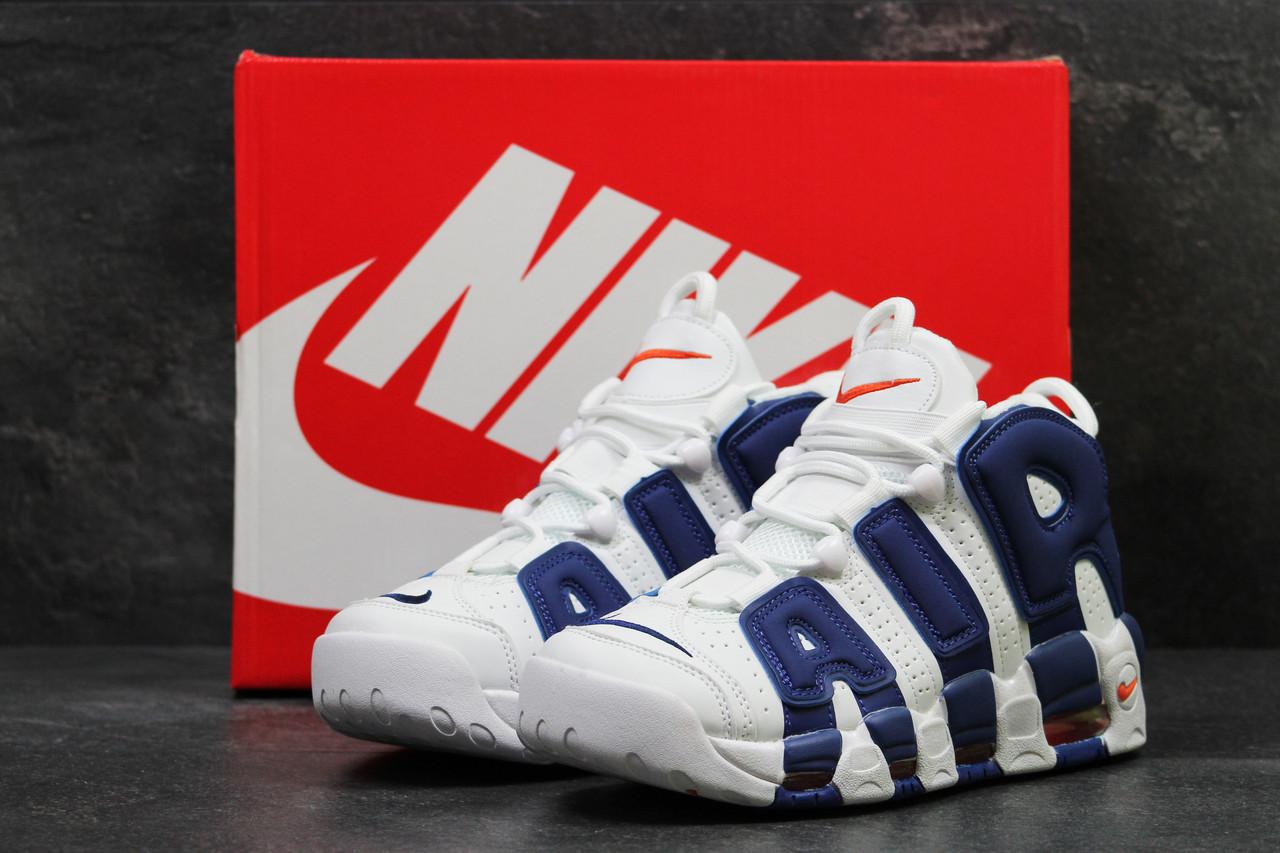 8912698e Высокие кроссовки Nike Air More Uptempo 96, мужские, белые с синим(Реплика)