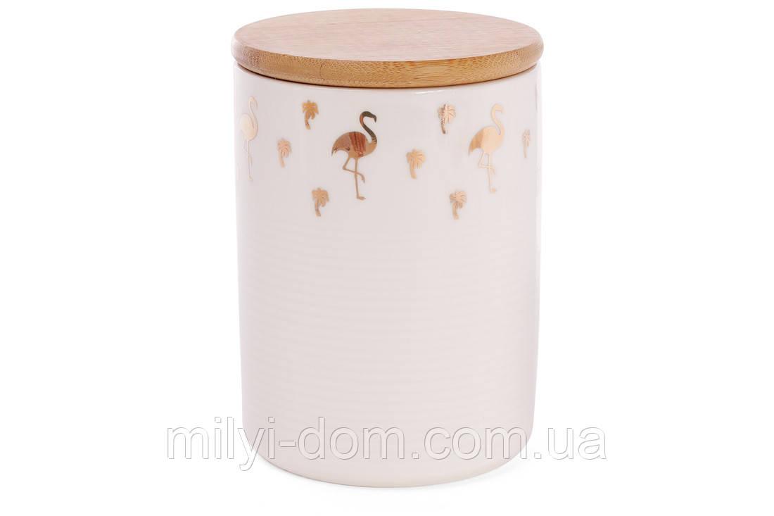 """Набор банок фарфоровых с бамбуковой крышкой """"Фламинго-стая"""", 0,65 л, 2 шт"""
