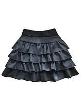 Детская юбка с воланами темно-серая р.116-158