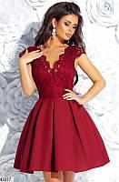 Нарядное коктейльное женское платье, короткое бордовое, размеры 42, 44, 46