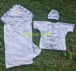 Набор для крещения белый, голубые рюшки (крыжма+рубашка на завязочках+чепчик)