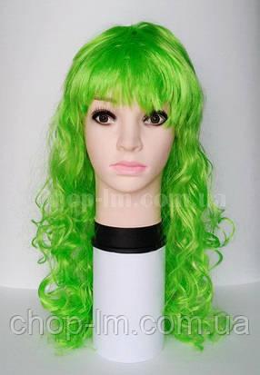 Карнавальный парик салатовый, кудрявый, фото 2