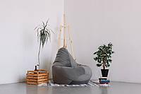 Серое кресло-мешок груша 120*90 см из микровелюра Багира, фото 1