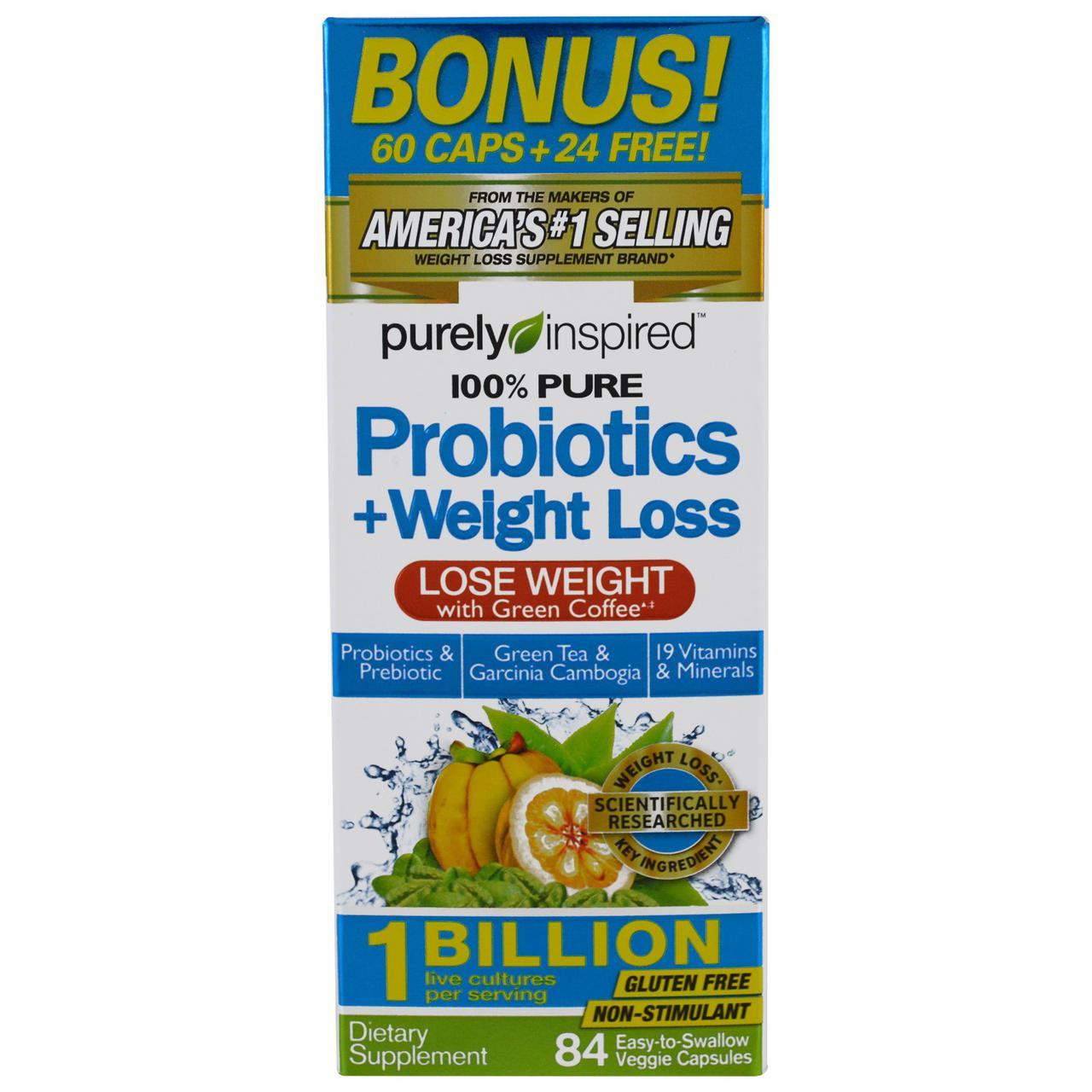 Purely Inspired, Пробиотик + Похудение, 84 легко глотаемых растительных капсулы