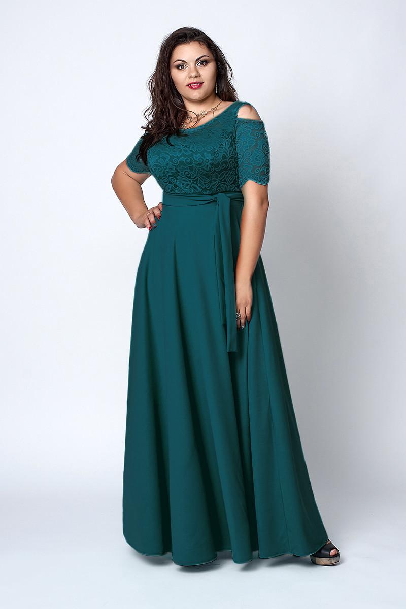 Нарядное длинное платье бутылочное