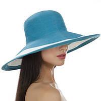 Шляпа летняя широкое поле цвет бирюзовый с белым