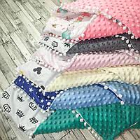 Конверт одеяло минки плюш с бубонами. Съёмный Синтапон