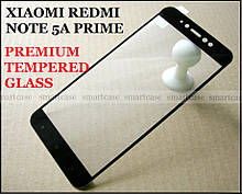 Premium Tempered Glass 2.5D закаленное защитное стекло Xiaomi Redmi Note 5a Prime (Y1), черные рамки 0,33 мм