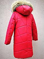 Зимнее стеганое пальто для девочки рост 117-153, фото 3
