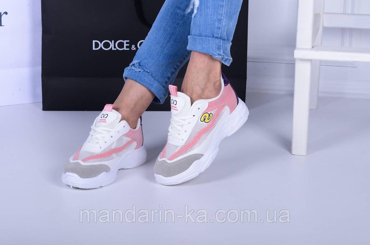 Женские  кроссовки  белые S фиолетовая  пятка