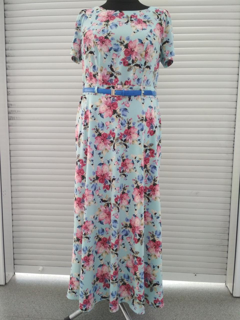 Плаття нарядне довге шовкове блакитне в квіточку великого розміру 56