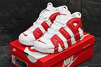 Мужские кроссовки Nike Air More Uptempo 96 белые с красным (реплика)
