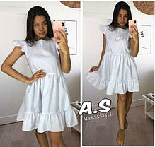 Платье короткое свободное с рюшей на плечах хлопок, фото 2