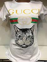 Футболка женская белого цвета Gucci реплика