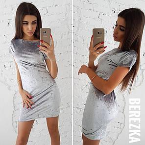 Облегающее велюровое платье мини, фото 2