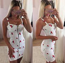 Льняное облегающее платье на молнии с вишенками, фото 3