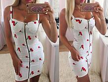 Льняное облегающее платье на молнии с вишенками, фото 2