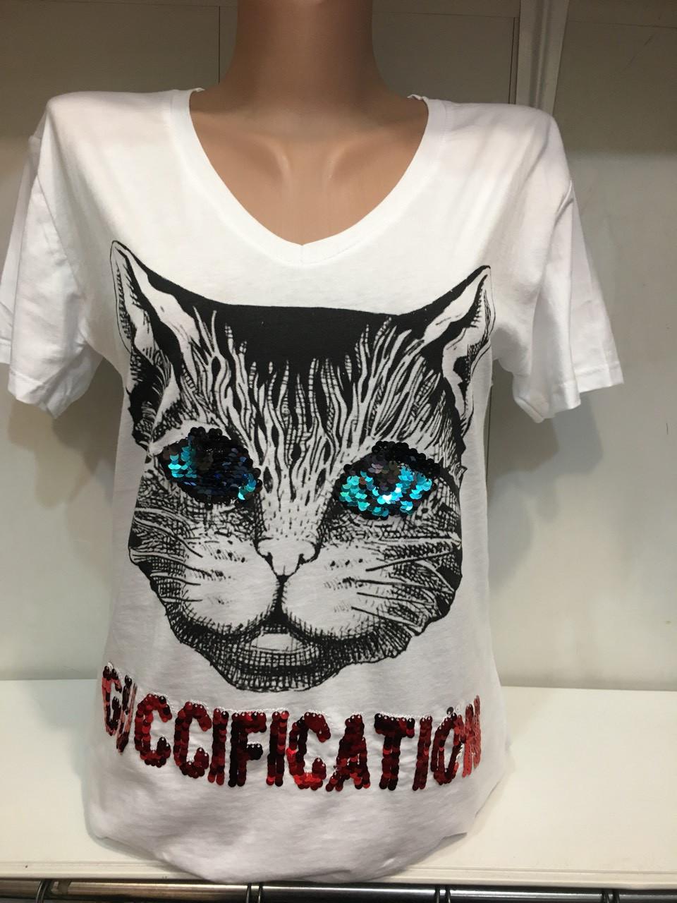 Модная женская футболка Кот