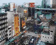 """Раскраска Антистресс для взрослых и детей """"Дождь в мегаполисе"""", 40 х 50 см , С Коробкой"""