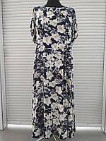 Платье нарядное шифоновое длинное синее в цветочек большого размера 60