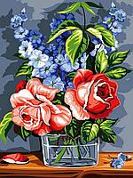 """Раскраска Антистресс для взрослых и детей """"Шикарные розы"""", 30 х 40 см , С Коробкой"""