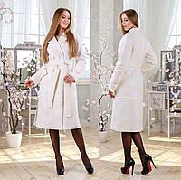 Двубортное демисезонное пальто F 77983  - Белое Принт, фото 1
