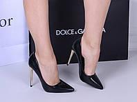 Женские туфли  лодочки черные  каблук 10,5 см