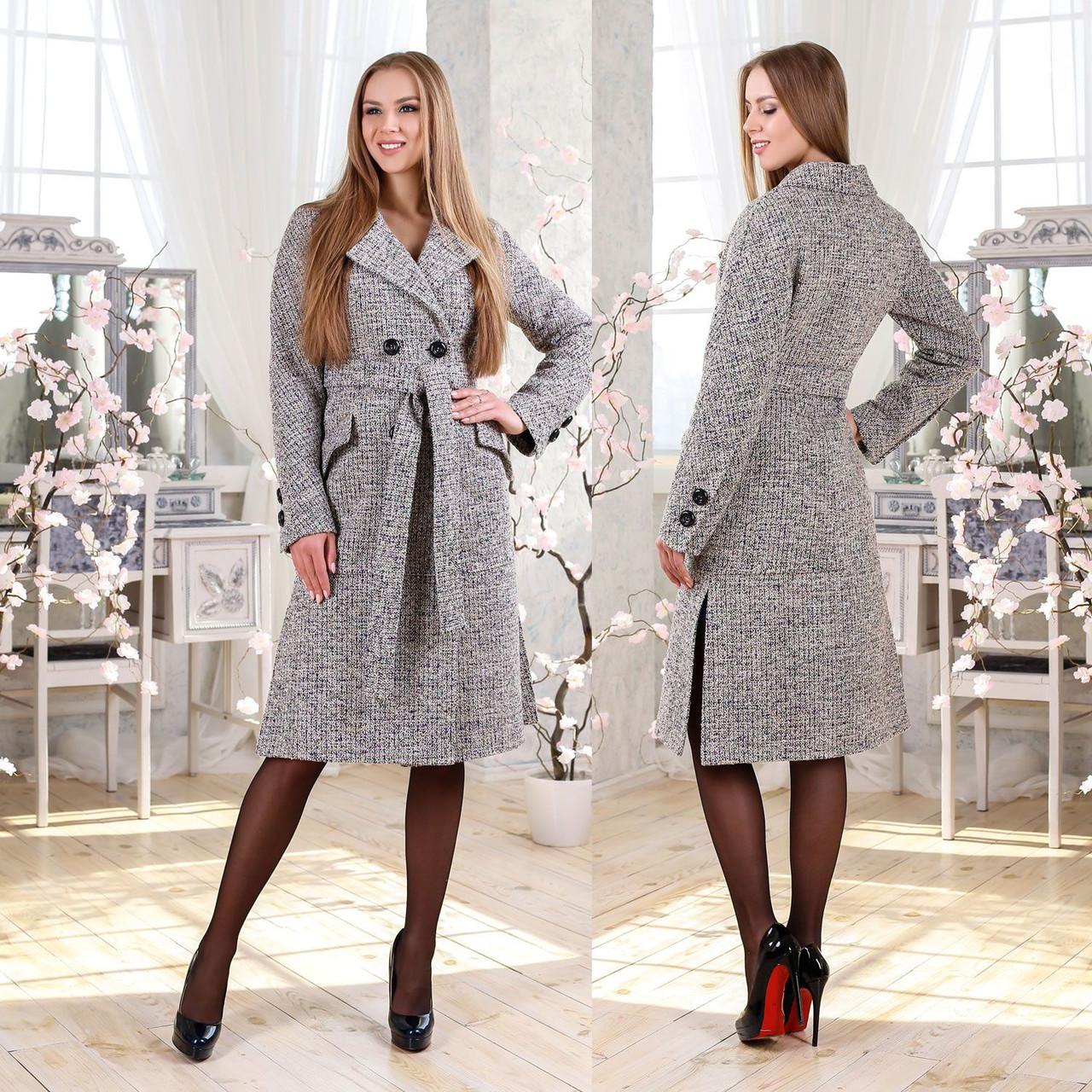 Двубортное демисезонное пальто F 77983  Серый Светлый