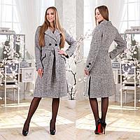 Двубортное демисезонное пальто F 77983  Серый Светлый, фото 1