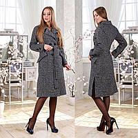 Двубортное демисезонное пальто F 77983  Серый Темный