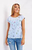 Красивая летняя блуза из софта голубого цвета. Размеры 46-52