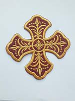 Хрест для стихарів малий 15 на 15 см бордовий з золотом