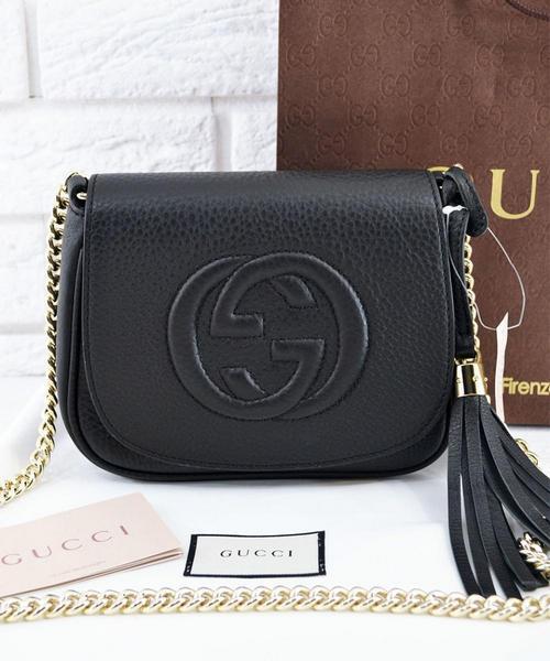 aa82c75bcd95 Женская сумка Gucci Soho Chain Shoulder Black Bag (3360): продажа ...