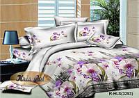 """Комплект постельного белья  Евро двуспальный, ранфорс 3D """"Лондонские орхидеи"""""""