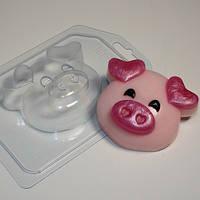Пластиковая форма Хрюшка-мордашка/Уши сердечком