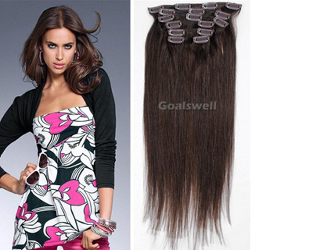 Натуральные волосы пряди трессы на заколках  REMY набор из 8 прядей дл