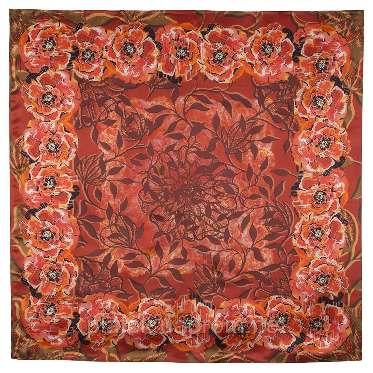 Платок шелковый (атлас) 10153-5, павлопосадский платок (атласный) шелковый с подрубкой