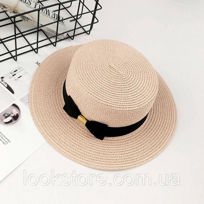 Шляпа женская летняя канотье с бантом розовая (пудровая)