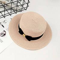 Шляпа женская летняя канотье с бантом розовая (пудровая), фото 1