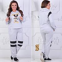 Женский спортивный костюм с капюшоном батал / двунитка / Украина 6-840-1, фото 1