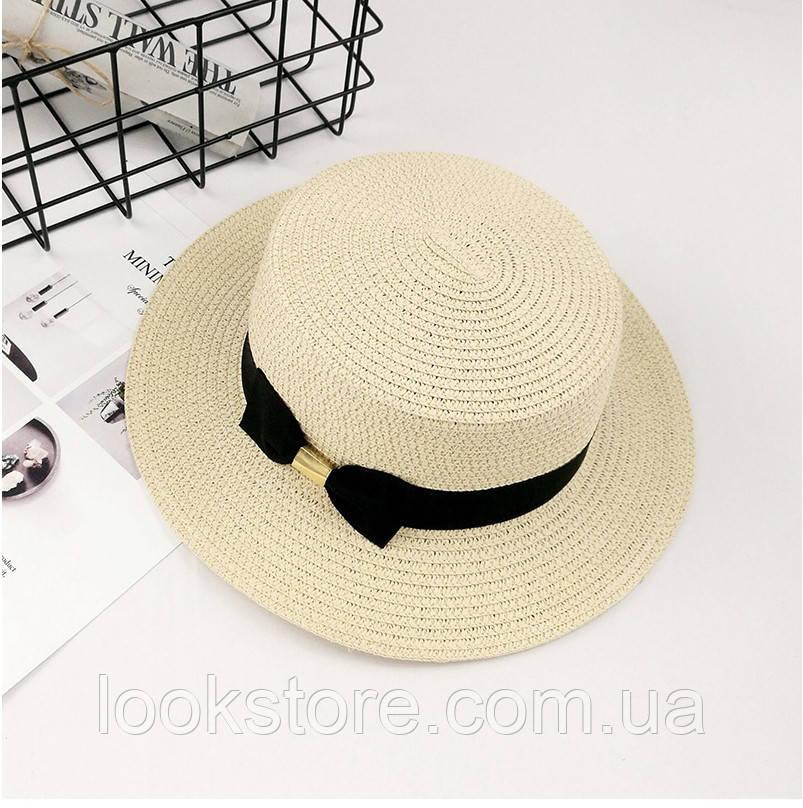 Шляпа женская летняя канотье с бантом кремовая