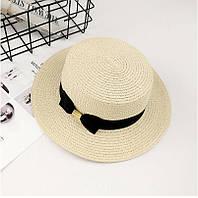 Шляпа женская летняя канотье с бантом кремовая, фото 1